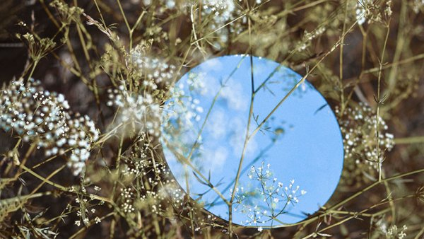 Sky landscape in a round mirror lying on the grass