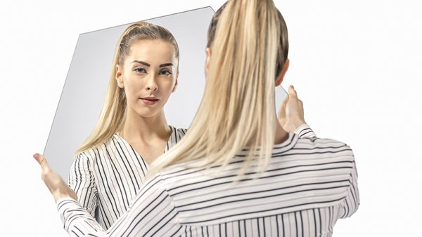 LAB brand image girl mirror reflection